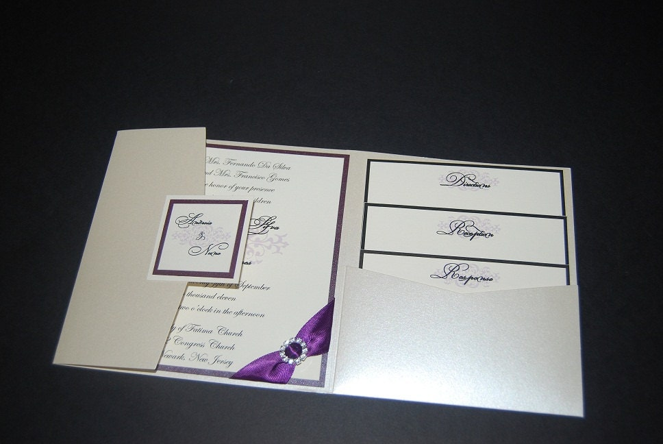 Silver Wedding Invitation Purple Wedding Invitation