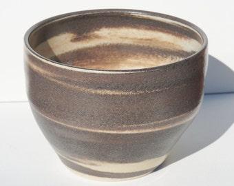 Ceramic Bowl, White Swirls, Of Jupiter, Clear Glaze, Two Tone Clay Bowl, 74