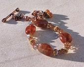 Sunstone Nugget and Orange Andulasite Bracelet