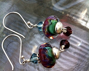 Boro Bead Earrings in Rich Jewel Tones