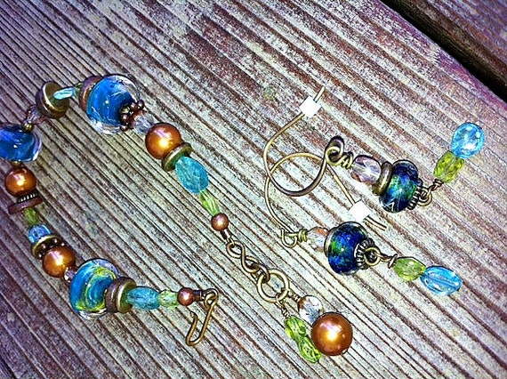 Blue/Green Boro bead and Gemstone Bracelet/Earrings