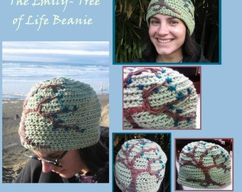 The Emily- Crocheted and Embroidered Flowering Tree of Life Beanie