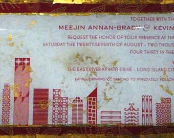 6x12in Handmade  decoupage Wedding Invitation Plate