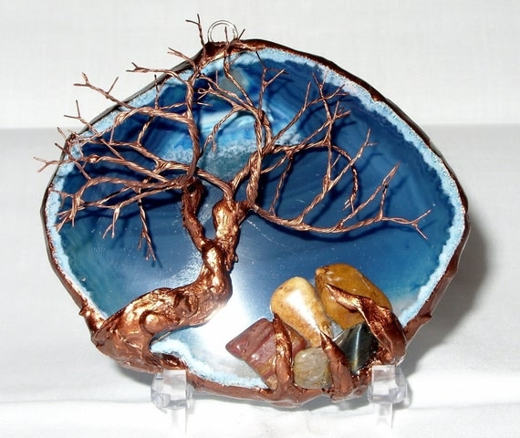 Copper Wire Tree Of Life Metal Wall Art Sculpture On A Blue And White Agate Stone Crystal Suncatcher With A Cluster Of Polished Gemstones