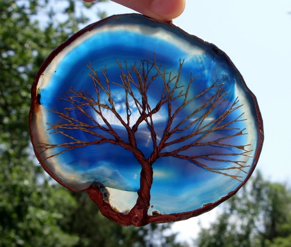 Copper And Gold Wire Tree Of Life Metal Wall Art Sculpture On A Blue And White Agate Stone Crystal Suncatcher