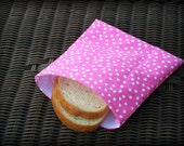 Eco-friendly Reusable Sandwich Bag in Hot Pink and White Polka Dots/ Valentine Gift/ Party Favor, Teacher Gift