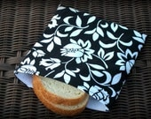 Reusable Sandwich Bag in Black and White Floral ... Teacher's Gift
