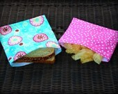 Reusable Fabric Sandwich/Snack Bags in Pink Polka Dot, Turquoise Floral /School Lunch Pouch