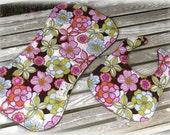 Baby Girl Bib and Burp Cloth in Floral Print w  Brown Minky Dot, Baby Girl Shower Gift