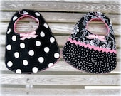 2 Baby Girl Bibs in Black and White Damask and Black Polka Dot /Baby Accessories Pink Minky/ Baby Girl Shower Gift
