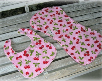 Baby Girl Bib and Burpie in Pink and Red Cherry/ Pink Minky. Baby Shower Gift Set