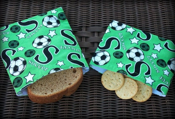 Reusable Sandwich/Snack Bags, Green Soccer Print, Set of 2