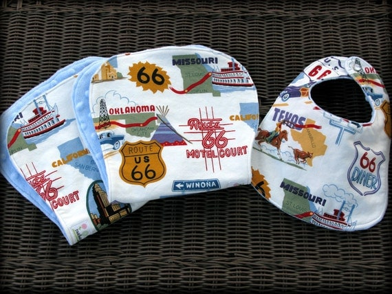 Baby Boy Route 66 Bib and Burp Cloth Set/ Baby Shower Gift/ Blue Minky
