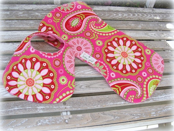 Baby Girl Gift Set, Bib and Burpie in Pink Minky/Pillow and Maxfield's Gypsy Bandana. Hot Pink and Lime Green Paisley, Baby Shower Gift