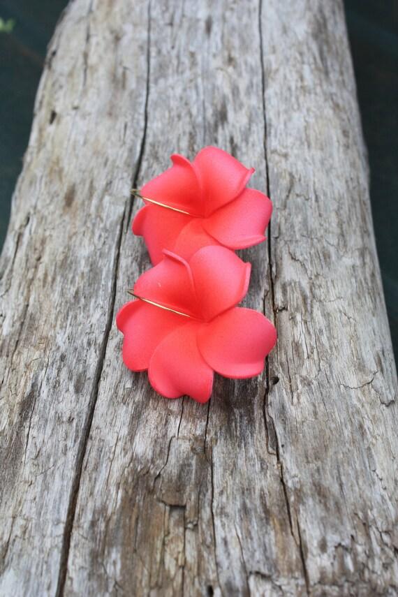 Pink Flower Earrings Plumeria, Frangipani Floral Earrings, Hawaii Jewelry Hawaiian Jewelry Tropical Flower Flower Jewelry Floral Jewelry 131