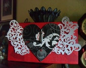 Heart and Lace Wings Mixed Media Collage in Red, Black and White