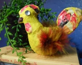 Primitive Yellow Chicken with Feathers