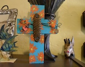 Rustic Blue Wood Cross with Painted Flowers