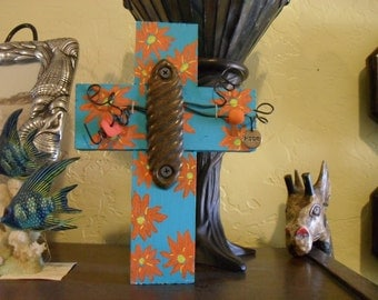 Found Object Rustic Blue Wood Cross with Orange Painted Flowers