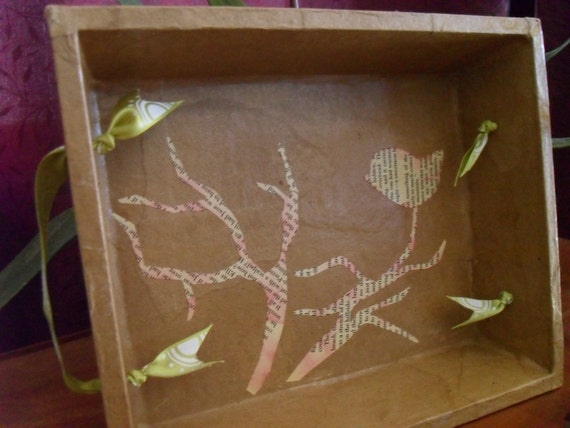 Faux Leather Wood Tray with Paper Bird Collage