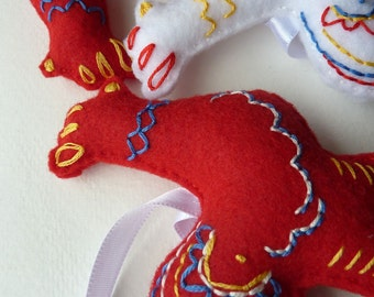 Embroidered Swedish Dala Rooster Ornament