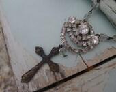 Vintage Rhinestone Drop with Rosary Cross