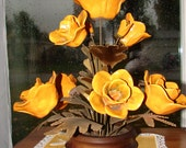 Vintage Winifred Cole of California Floral Sculpture with Brass Stems Beautiful Golden Yellow Poppies Mid Century Decor