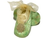 Giselle Baby Girl Shoe in Pistachio Green, Infant, handmade by Pink2Blue.