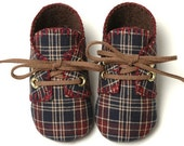 William Baby Boy Shoes, Maroon and Blue Plaid, Sporty, Trendy, Infant sizes,Handmade, Baby Boy Shoes.