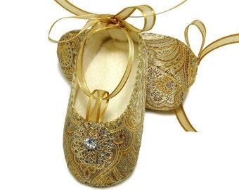 Baby Girl Giselle Shoe, Brocade Ballerina /Slipper/Bootie, Flower Girl, Christening, Infant, Handmade