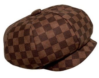 Baby boy hat Newsboy Baby hat Baby Golf hat Brown checkered cotton Baby Boy Hats pink2blue.