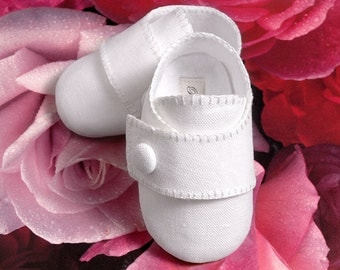 Baby Boy Shoes in Linen /Wedding, Christening, Infant, Toddler and Pre School sizes, Handmade by Pink2Blue.