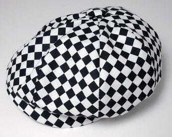Baby Boy Hat, Checkered Black and White Newsboy Cap, Infant - Preschool Sizes, Custom  Handmade by Pink2Blue.