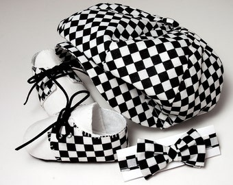 Cooper Baby Boy Hat, Shoes and Bow Tie Set, Checkered and Linen. Sporty, Infant, Handmade.