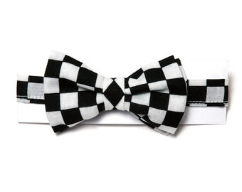 Cooper Baby Boy Checkered Bow Tie. Handmade by Pink2Blue.