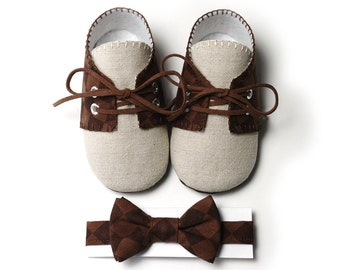 Pink2Blue's Lucas Baby Boy Golf Shoe/Booties and Bow Tie, Brown Checked, Linen, Infant, Handmade by pink2blue.