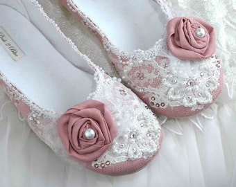 Wedding Shoes - Rose Bridal Ballet Flat, Vintage Lace, Swarovski Crystals, Pearls, Custom Made Women's Bridal ShoesFrom pink2blue