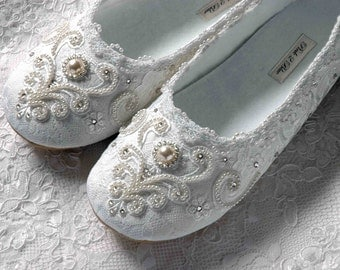 Wedding Shoes - Rachel Bridal Ballet Flat, Vintage Lace, Swarovski Crystals, Pearls, Custom Handmade Women's Wedding Flats, by Pink2Blue