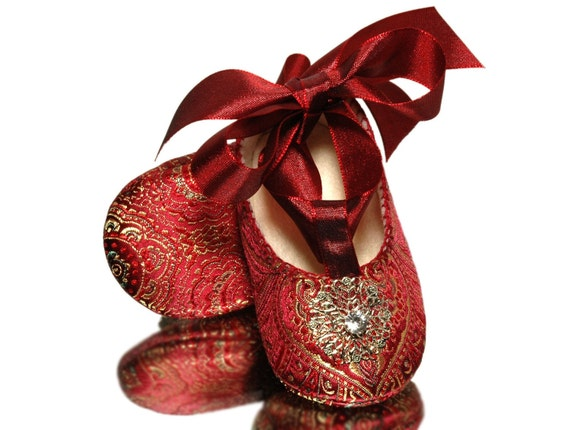 Baby Girl Giselle Shoe, Red Brocade /Slipper/Bootie. Pageant, Wedding, Flower Girl, Baby Girl Shoes.