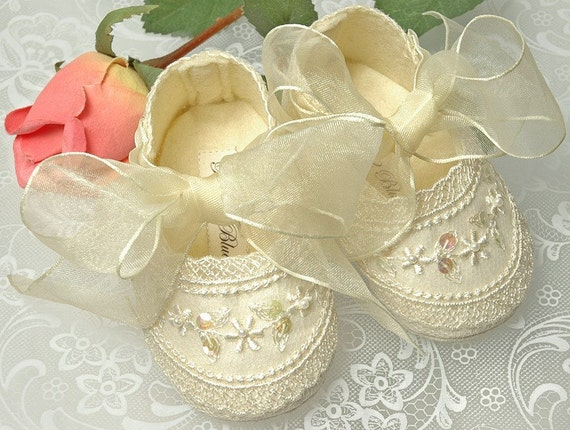 Wedding Shoes, Flower Girl,Christening, Baby Shoes, Handmade Shoes by Pink2Blue.