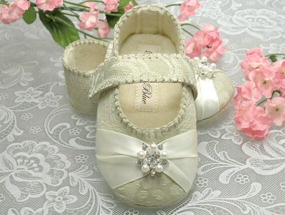 Baby Girl Shoe Caroline, Flower Girl, Christening, slipper/bootie. Infant Sizes, Handmade by Pink2Blue