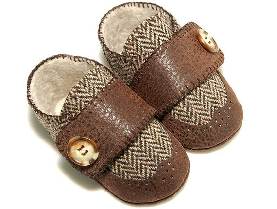 Nathan Baby Boy Wingtip Shoe in Brown Herringbone Wool /slipper/bootie , Infant, Toddler & Pre School, Handmade by Pink2Blue.
