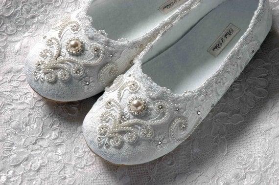 Wedding Shoes - Rachel Bridal Ballet Flat, Vintage Lace, Swarovski Crystals, Pearls, Custom Handmade Women's Wedding Flats, by Pink2Blue