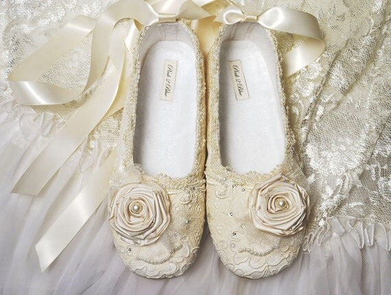 Ballet Flat Wedding Shoes Victoria Size 11 Vintage by ...