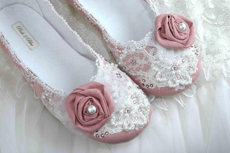 Wedding Shoes Rose Bridal Ballet Flat Vintage Lace