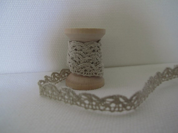 linen cluny lace with vintage wooden spool