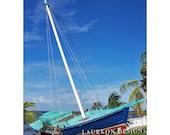8x10 Belize Sailboat. Original Fine Art Photography Print