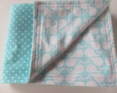Reversible Flannel Swaddling/Receiving Blanket - White Whales and Polka Dots on Turquoise