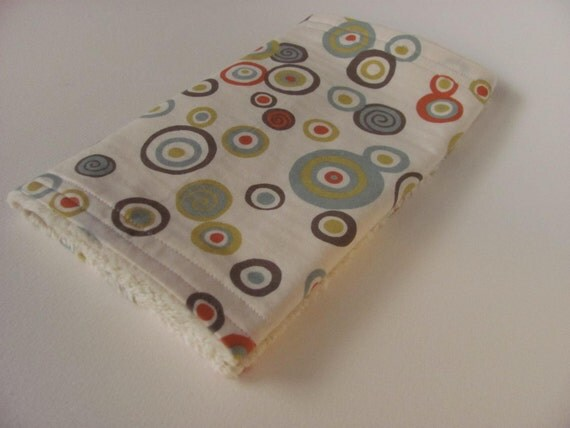 Sale - Chenille Burp Cloth -  Mutli-colored Circles and Dots - Arcadia by Sanae for Moda