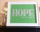Reserved- Mustard Yellow- ship priority mail by 1-30  - Home Decor - HOPE Does Not Disappoint  -  9x12 Canvas Panel - Green